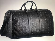 New MCM Mens Large Weekender Duffle Bag Black with Blue Logo Print  fashion   clothing ae95d6e8d24f9