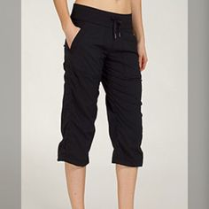 Lululemon dance studio crops Black in color. Crop style- these are great outside with some pilling inside. Size 10- these can be cleaned off and made almost perfect. lululemon athletica Pants Capris