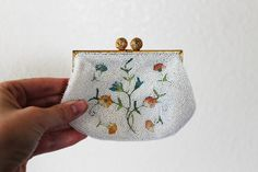 Vintage 1950's Embroidered Bead Coin Purse