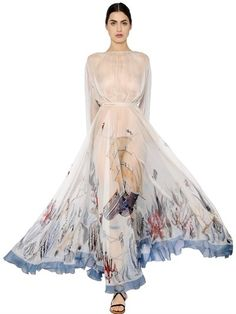 Mermaid Printed Silk Chiffon Dress