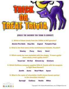 halloween trick or treat trivia game 395 - Halloween Horror Movie Trivia