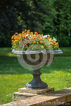 Garden flower vase in Branitz palace. Germany. Europe.