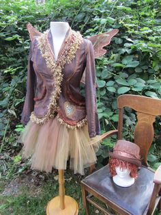 Upcycled Steampunk Clothing, Copper Fairy Costume, Victorian Pixie, Carnival, Circus, Autumn Fairy. $500.00, via Etsy.