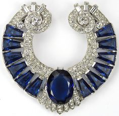 KTF Trifari 'Alfred Philippe' Pave and Sapphire Shield Swirl Dress Clip