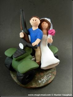 Hunter on ATV Wedding Cake Topper   ….it's coming up to cake topper hunting season for a slew of brides getting married this year ...….#hunting$260#hunt#atv#all_terrain_vehicle#off_road#wedding #cake #toppers  #custom #personalized #Groom #bride #anniversary #birthday#wedding_cake_toppers#cake_toppers#figurine#gift