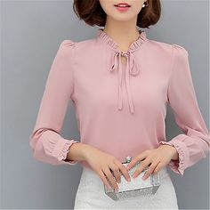 Women's Work Going out Street chic Blouse - Solid Colored Stand 2018 - $36544