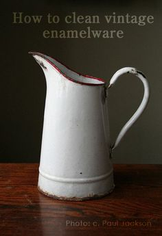 How to Clean Vintage Enamelware Read tips by Tea with Ruby and Daniel see more at https://www.facebook.com/SilverandGreyLoveVintage/photos/a.144080512444290.1073741828.137955556390119/242351105950563/?type=1&theater photo by Paul Jackson on Flickr