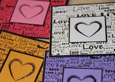 Heart Embroidered Card Black Heart Love Words