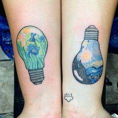 Van Gogh light bulbs from a while back #starrynight#iris#lightbulbtattoo#vangoghtattoo