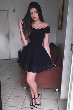 Black A-Line Off-The-Shoulder Homecoming Dresses,Short Prom Dress,Graduation Dresses OK437 #Graduationdresses