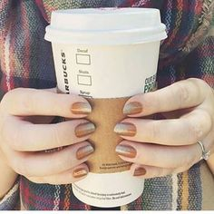 Take a bit of pumpkin spice nail art with that latte: | 18 Glorious Nail Art Designs For Fall