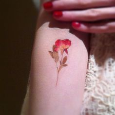 Pressed flower tattoo. Small, realistic looking, delicate and pretty.