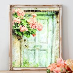 Aged Mint Green Cottage Door with Pink Coral Geraniums Watercolor Art Print Shabby Cottage Home Decor, This is a watercolor fine art print of an aged cottage door with a gorgeous hanging basket of coral/peach geraniums. This is a timeless design, so you will be able to enjoy this charming little cottage door for years to come. With the gorgeous tones of color as well as the delicate hues, this reproduction print is beautiful and Shabby Chic at its brilliant best…