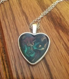 Silver Heart Pendant Necklace, Painted Flower Necklace, Graduation Birthday Gift For Her, Bridesmaid Mother Of Bride Necklace Gift, Mom Gift by JellyTreeJewelry on Etsy https://www.etsy.com/ca/listing/525155582/silver-heart-pendant-necklace-painted