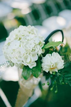 White HYDRANGEAS aisle decoration (Floral Design: Petals, Michelle Boleski) - Vermont Wedding at Quechee Inn from Emily Delamater