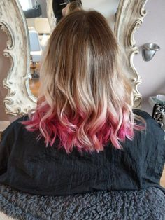 Pretty pink balayage ombre with creamy blonde and deeper roots. Hair by Martine Rodda Blonde Hair With Pink Tips, Red Hair Tips, Pink Ombre Hair, Virtual Hairstyles, Work Hairstyles, Hairstyle Ideas, Easy Hairstyle, Hair Ideas, Redhead Hairstyles