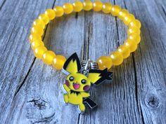 Gemstone bracelet, Pokemon bracelet, pokemon jewelery, pikachu bracelet, yellow…