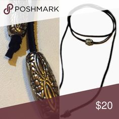 🆕List! Black Suede Wrap Choker Silver Beads! NEW! Black suede wrap necklace. Center bead is oval etched silver bead. Please note that beads at ends are as shown on left not ones shown on necklace on right. NEW! Creative Adornments Jewelry Necklaces
