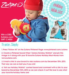 Zutano.com Holiday Wishlist #Contest. Enter to #win a $150 eGift Card. Just follow the easy steps above!
