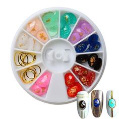Nail Art Wheels 10 Colors Resin Gems with Gold Metal Hollow Round *** See this great product.