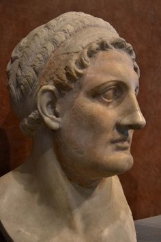 Ptolemy I Soter - Marble bust former general of Alexander the Great and founder of the Ptolemaic Dynasty, which ruled Egypt for almost three centuries. Hellenistic Ptolemaic Dynasty (3rd Century BCE). Marble.