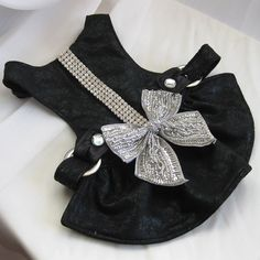 Small Dog Harness Dress Black Ice Bow Dress with by FooFooFido