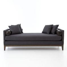 Living Room Mercury Double Chaise-Charcoal Felt