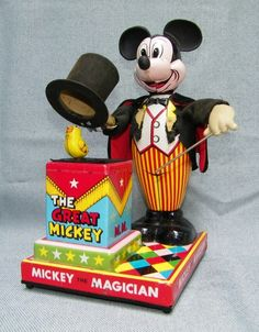 Linemar Mickey the Magician Battery operated tin toy from 60s  ebay