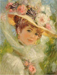 Painting by John Fredrick L. Stevens   [looks like Anne of Green Gables!]      pixels 562×740