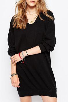 Black Scoop Neck Long Sleeves Dress