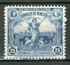 CORREOS DE VENEZUELA - CENTENARIO DE LA INDEPENDENCIA 1911 - 25 CENTIMOS - UNION O LA ANARQUIA OS DEVORARA