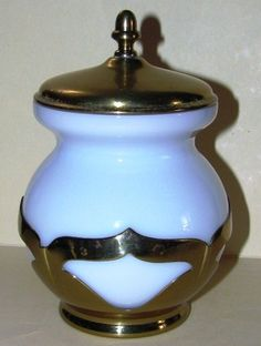 Gold Brass & Milk Glass Farberware Farber Brothers Condiment Jar