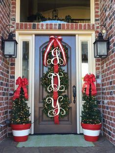 Initial Door Hanger Wooden Letters Door Wreath Door Sign image 1 – My World Christmas Front Doors, Christmas Door Decorations, Christmas Porch, Christmas Fun, Christmas Wreaths, Christmas Print, Christmas Staircase, Natural Christmas, Outdoor Decorations