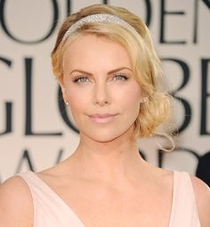 simple side chignon with sparkle The best celeb-inspired wedding hair - Charlize Theron | Gallery | Glo