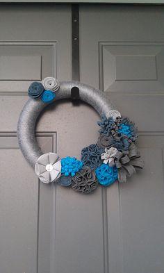 Bluetiful Felt Flower Yarn Wreath by 27Willows on Etsy, $24.50