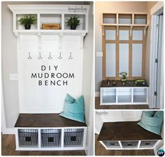 DIY Wood Mudroom Bench Best Entryway Bench DIY Ideas Projects bench with storage Halls Pequenos, Home Renovation, Home Remodeling, Diy Bank, Hall Tree Bench, Mudroom Laundry Room, Closet Mudroom, Small Entryways, Diy Holz