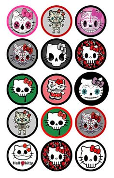 Sugar Skulls, skulls, Hello Kitty Bottle Cap Images set of 15 Bottle Cap Images, Bottle Caps, Hello Kitty Art, Edible Printing, Emo Art, Image Sheet, Crafts For Kids To Make, Sugar Skulls, Diy Halloween