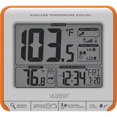 LA CROSSE TECHNOLOGY 308-179OR Wireless Weather Station. LA CROSSE TECHNOLOGY 308-179OR Wireless Weather Station Large digit display ; Wireless outdoor temperature with high & low temperature alarms ; Indoor temperature with trend arrows ; Clock with calendar