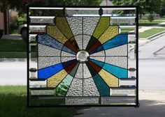 """•Energy Sphere•• Beveled Stained Glass Panel • Signed Numbered ≈24 ¾"""" x 23 ¾"""" 