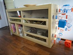 Materials: Expedit 4×2 Description: My girlfriend really wanted some kind of pet. Guinea pigs would be fine… something like that. As I'm an aesthete – at least think to be – the hutch had to fit in the living room nicely. An Expedit meets my requirements, but is too small for guinea pigs. It wasn't [&hellip