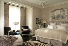 Neutral palette: Designer Alessandra Branca. There's my zebra rug from Africa....that is still in Africa!
