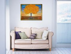 """Original Abstract Textured Acrylic Tree Painting on Canvas, Golden Tree - Size: 24"""" x 30"""" #Painting #Canvas # Textured #Acrylic #Tree"""