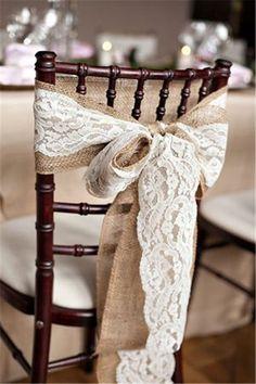 Rustic burlap chair cover decorations