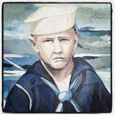 Frozen in time - portrait of a sailor captured from the DeLand Naval Air Station mural, by Courtney Canova, on the southside of the Miller-Fish building. The air station at the current site of the DeLand Municipal Airport, was operational from 1942-1946. http://deland365.com