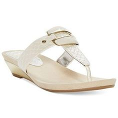 Anne Klein Ita Mid Wedge Thong Sandals