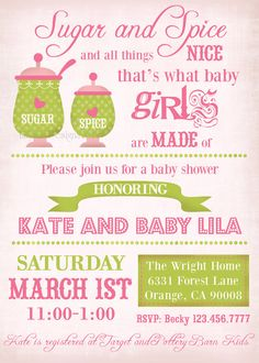 Baby Girl Shower Invitation  Vintage Sugar and by LillyMaeDesigns, $13.00..hmmm, maybe this one?