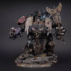 """Brother Demeddeus"" - miniature by Dave ( Wonderful convertion. a Chaplain Redemptor Dreadnought :O Warhammer 40000, Warhammer Paint, Warhammer Models, Night Lords, Space Marine Dreadnought, Dark Angels 40k, Warhammer 40k Blood Angels, Grey Knights, Warhammer 40k Miniatures"
