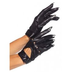 Cat Claw Women's Black Gloves ($17) ❤ liked on Polyvore featuring accessories, gloves, short gloves, fancy gloves, wet look gloves, sexy gloves and claw gloves