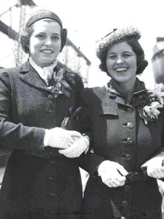 """Eunice and Rosemary Kennedy sailing to England..❤❤❤ ❤❤❤❤❤❤❤ (Patricia Helen """"Pat"""" Kennedy Lawford (May 6, 1924 – September 17, 2006) and sister Rose Marie """"Rosemary"""" Kennedy (September 13, 1918 – January 7, 2005) http://en.wikipedia.org/wiki/Patricia_Kennedy_Lawford http://en.wikipedia.org/wiki/Rosemary_Kennedy"""