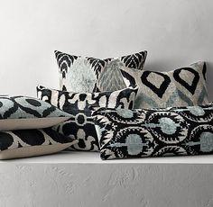 """Ikat Silk Velvet Pillow Cover    22"""" sq.  14"""" x 31""""  18"""" x 24"""""""